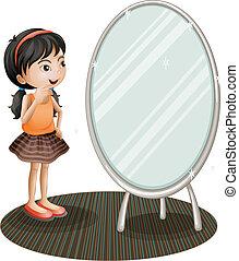 un, niña, entretela, el, espejo