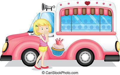 un, niña joven, al lado de, el, rosa, autobús