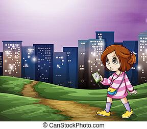 un, niña joven, ambulante, a través de, el, alto, edificios