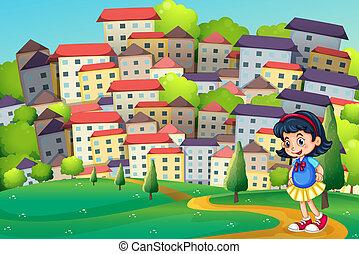 un, niña joven, ambulante, en, el, cumbre, a través de, el, alto, edificios