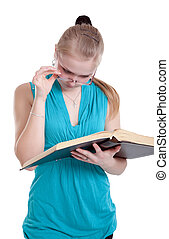un, niña joven, en, anteojos, con, un, libro