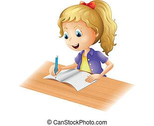 un, niña joven, escritura