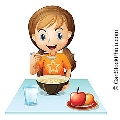 un, niña sonriente, comida, ella, desayuno