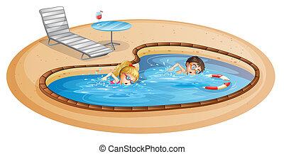 un, niña, y, un, niño, natación, en, el, piscina