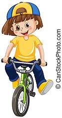 un, niño, bicicleta que cabalga, blanco, plano de fondo
