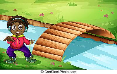 un, niño, cerca, el, puente