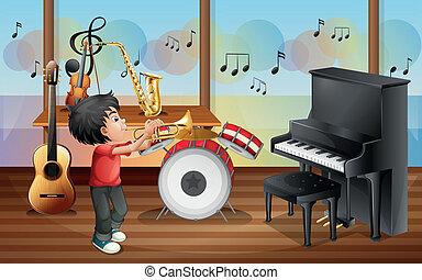 un, niño, con, instrumentos musicales
