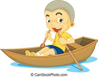 un, niño, en, un, barco