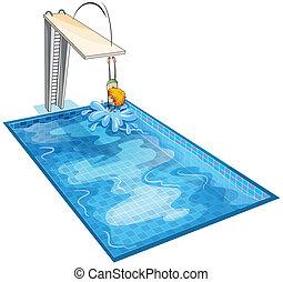 un, niño, en, un, piscina