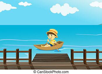 un, niño, equitación, un, barco