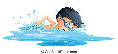 un, niño, natación