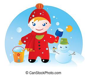 un, niño pequeño, en, un, invierno, caminata, y, el suyo,...