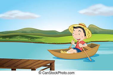 un, niño, remar un barco