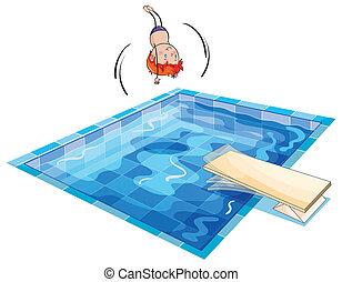 un, niño, y, piscina