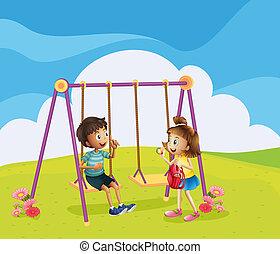 un, niño, y, un, niña, en, el, patio de recreo