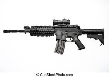 un, norteamericano, rifle de asalto