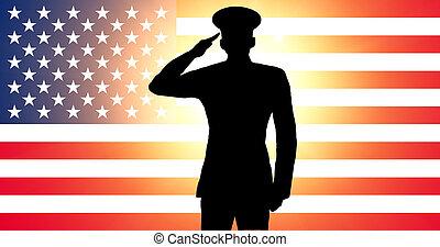 un, norteamericano, soldado, saludar
