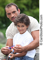 un, padre, y, el suyo, hijo, pesca