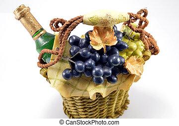 Un panier porte bouteille de vin avec des d?corations magnifique.