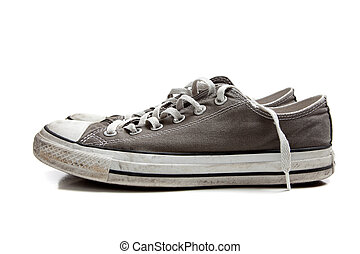 un, par, de, gris, zapatillas, blanco