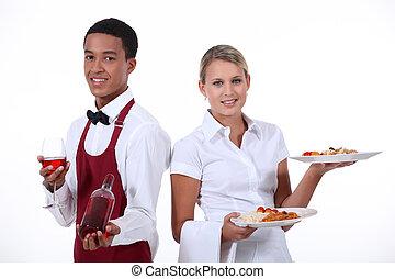 un, pareja, de, waiter.