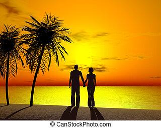 un, pareja que sujeta manos, en, sunrise.