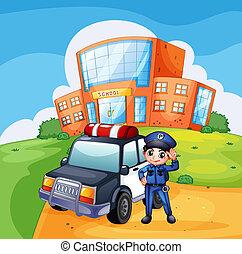 un, patrullero, y, el, policía, cerca, el, escuela
