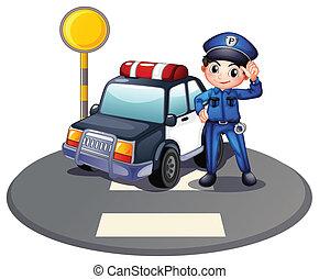 un, patrullero, y, el, policía, cerca, el, semáforo