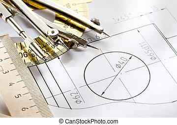 un, pedazo, de, bosquejo, con, diseño, instrumento