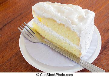 un, pedazo, de, joven, pastel de coco