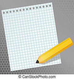 un, pedazo de papel, y, un, lápiz