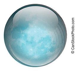 un, pelota azul