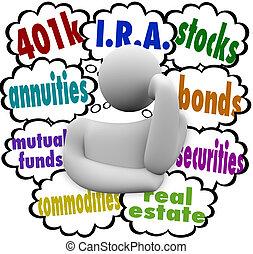 un, pensamiento, persona, maravillas, qué, ser, el, mejor, elecciones, para, inversión, para, futuro, con, el, palabras, 401k, annuity, fondos mutuos, i.r.a., bienes raíces, acciones, bonos, seguridades, y, bienes raíces