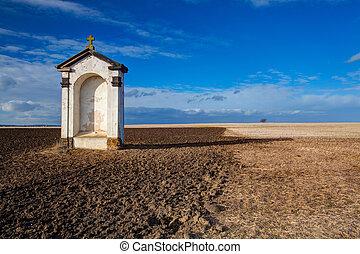 un, pequeño, capilla, en el medio, de, campos