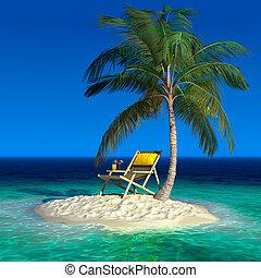 un, pequeño, isla tropical, con, un, playa, tumbona