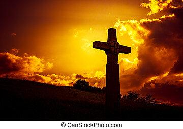 un, piedra, cruz, delante de, un, dramático, tarde, cielo