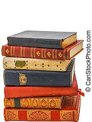 un, pila, de, antigüedad, libros