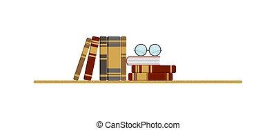 un, pila, de, varios, libros, y, anteojos on, el, tabla