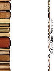 un, pila, libros viejos, fondo blanco