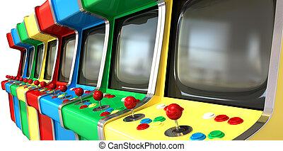 un, plano, fila, de, vendimia, unbranded, arcada, juegos, con, joysticks, y, vario, coloreado, botones, y, un, pantalla en blanco, en, un, aislado, fondo blanco