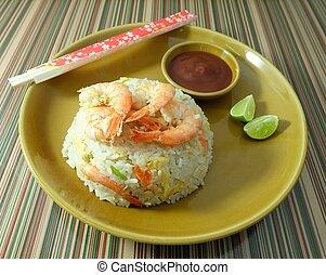un, plate de, delicioso, camarón, arroz frito