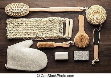 un po', bagno, accessori, su, marrone, legno, fondo