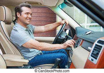 un po', dall'aspetto, guidare, andare, musica, uomo, bello