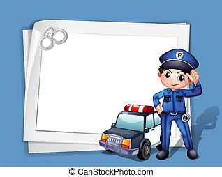 un, policía, al lado de, un, patrullero