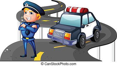 un, policía, y, el suyo, patrullero, en el medio, de, el,...