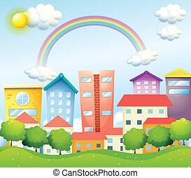 un, productivo, ciudad, con, alto, edificios
