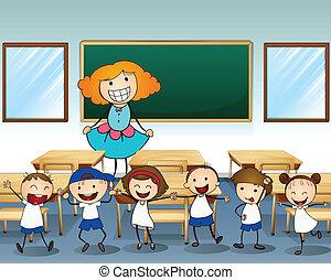 un, profesor, y, ella, estudiantes
