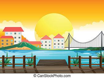 un, puente de madera, a través de, el, alto, edificios