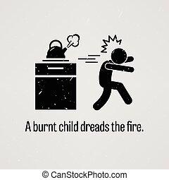 un, quemado, niño, tener miedo por, el, fuego