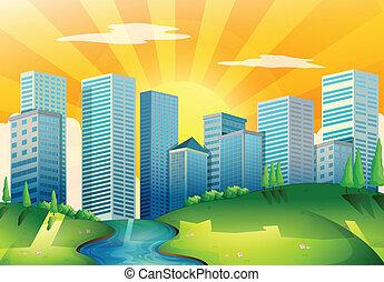 un, río, cerca, el, alto, edificios